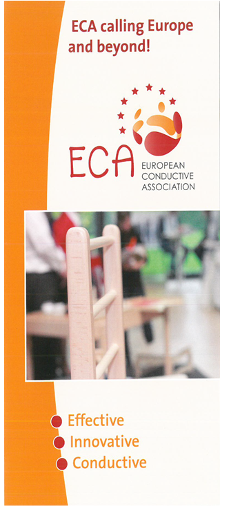 Cover of ECA Flyer headed: ECA calling Europe and beyond! With ECA logo and a picture of a Petö Chair and the slogan: effective, innovative, conductive