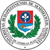 Logo of the Semmelweis University: Universitas Budapestinensis de Semmelweis Nominata.