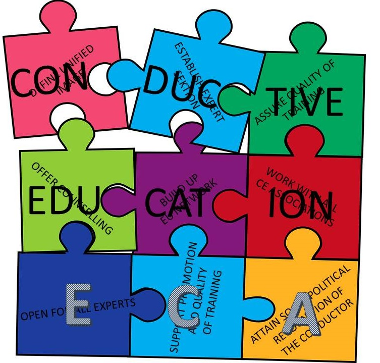 Drawn puzzle. Each piece in different color showing the several tasks which come together as one ECA picture.