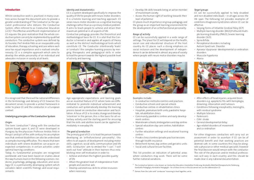 First page of Conductor profile broshure showing text and 4 pictures of children playing, crafting,learning.