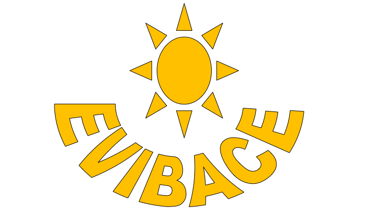Logo EVIBASE: Yellow sun at the top. Evibase in yellow written in a circle underneath.