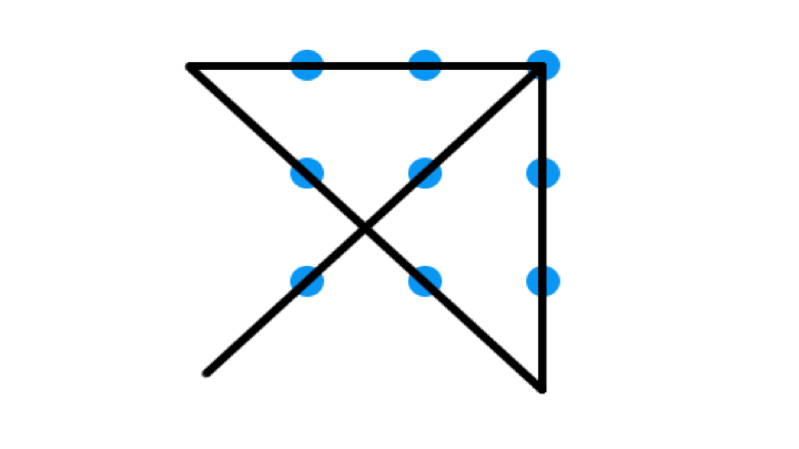 Logo: Triangle with a line going through the middle with geometrical blue spots.