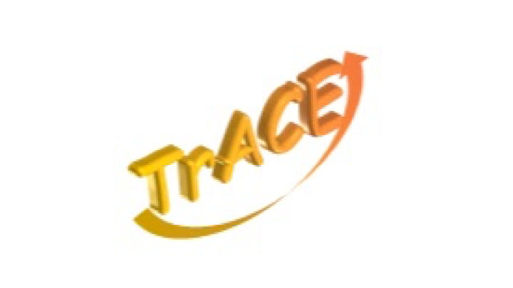 Logo of Trace yellow with an arrow bow underneath.