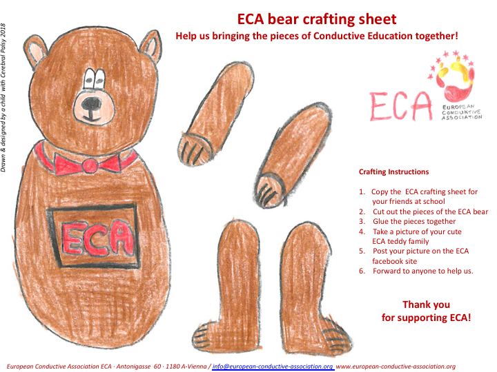A craft sheet. Drawn by a child with cerebral palsy. The drawing shows pieces of a brown teddy with fly around his neck and ECA logo on tummy. Craft Instructions are on the side. Heading: ECA bear crafting sheet. Help us bringing the pieces of CE together!